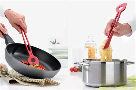 contemporary kitchen utensils chef2 spoon tongs by julian appelius for koziol 2524