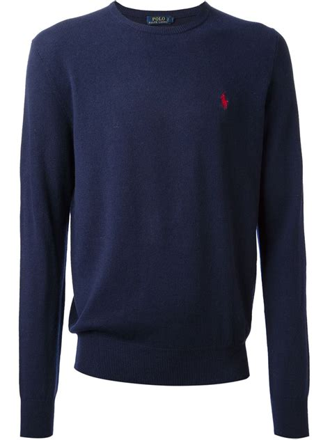ralph polo sweaters polo ralph logo sweater in blue for lyst