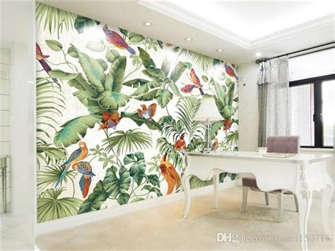 stereo tropical garden flower bird painting style