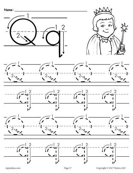 free printable letter q tracing worksheet with number and arrow guides first grade esol