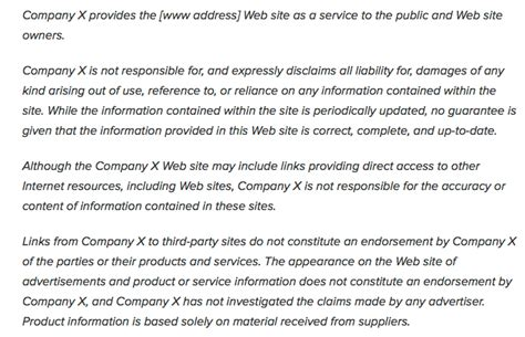 web site disclaimer
