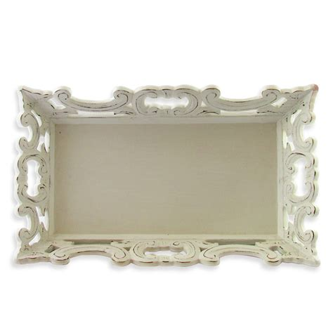 shabby chic trays hand carved wooden tray in white wash antique style shabby chic