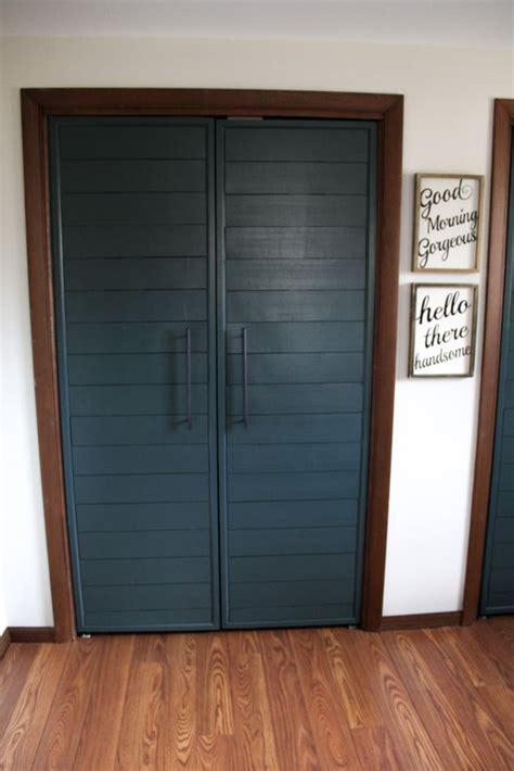 bi fold  faux shiplap french closet doors bright green