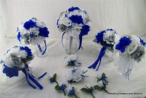Silk Wedding Flowers Bridal Bouquets RoYaL BLue SiLVeR aND