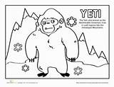Yeti Coloring Worksheets Worksheet Pages Nepal Education Printables Cultures Community Thing Creatures Mythical Grade Kindergarten sketch template