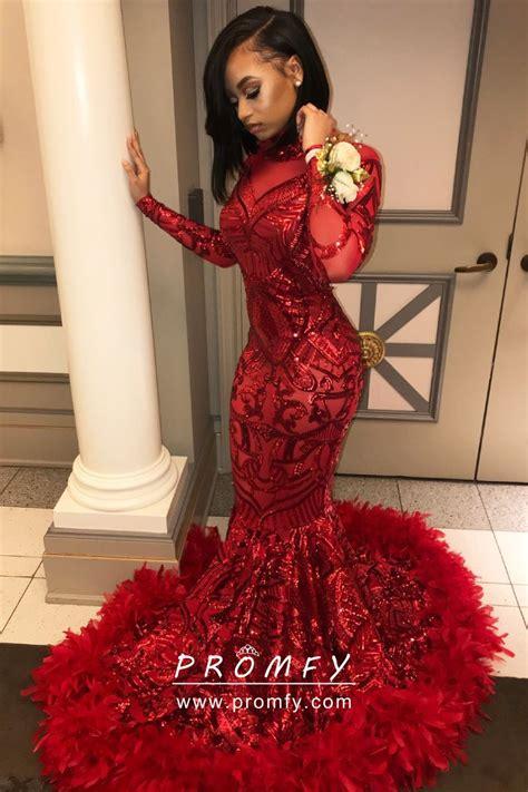 Red Sequin And Feather Hemline Mermaid Floor Length Long