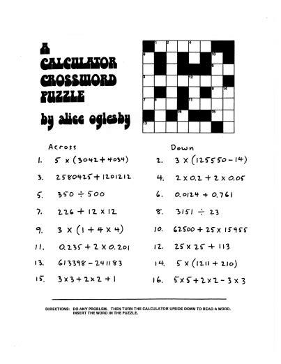 here s a calculator crossword puzzle calculators math for math math