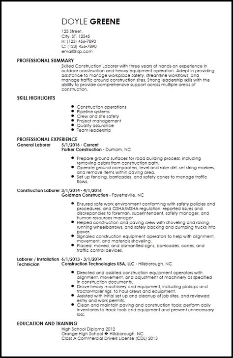 How To Set Up A Resume by Free Contemporary Construction Resume Templates Resume Now