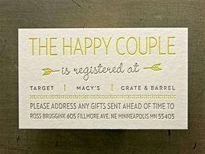 Registry insert for that one day pinterest wedding for Wedding invitation insert for registry