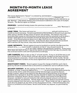 month to month room rental agreement month to month With month to month commercial lease template
