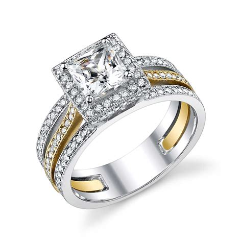 two tone engagement rings engagement setting 18kt two tone white and yellow gold ring the