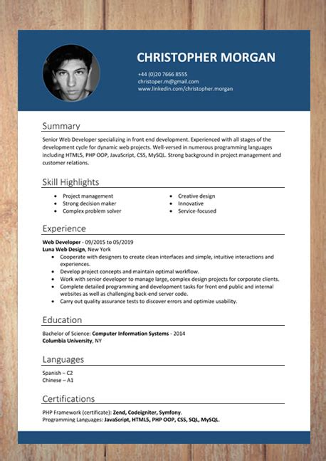 Cv Pattern by Cv Resume Templates Exles Doc Word