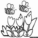 Coloring Spring Sheets Flowers Printable Bees Thecolor sketch template