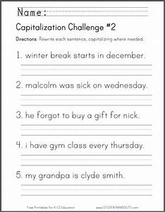 Capitalization Challenge #2 - CCSS for First Grade: L.1.2 ...