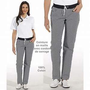 Tenue De Cuisine Femme : pantalon de cuisine femme ceinture en maille noir et blanc pepita ~ Teatrodelosmanantiales.com Idées de Décoration