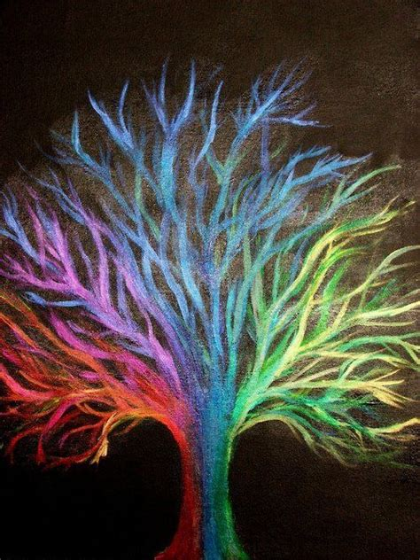 chalk art  neat colorful tree