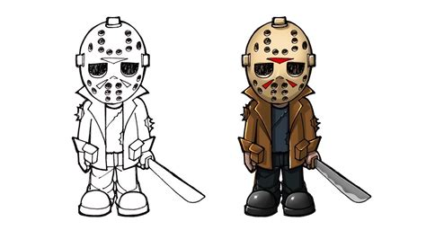 draw jason cartoon drawing  kids youtube
