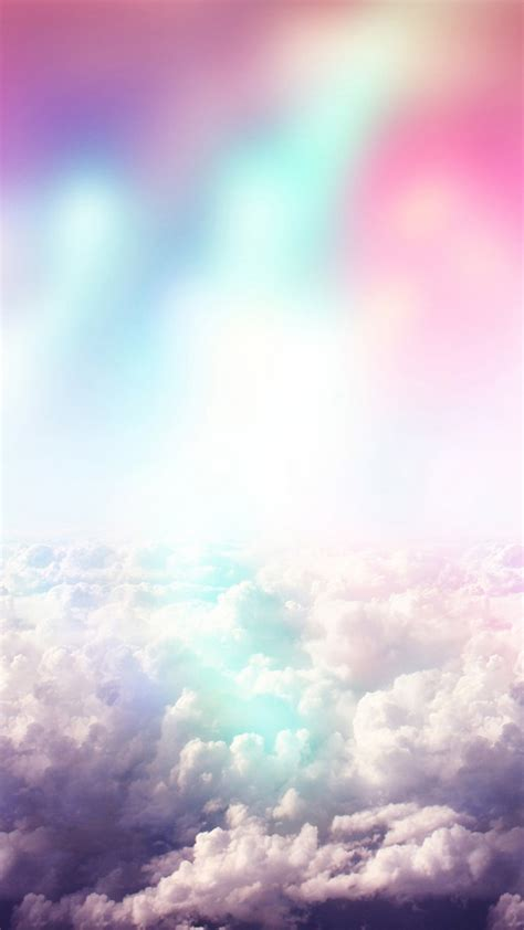 rainbow colors  fluffy clouds fantasy android