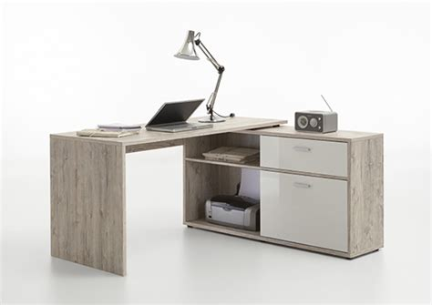 bureau basika bureau d 39 angle diego chene blanc brillant
