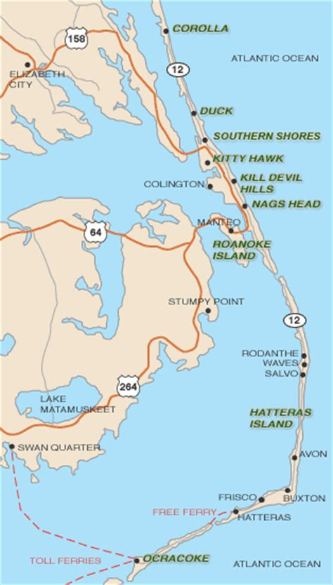map  outer banks towns