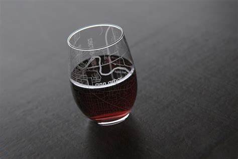 Map Engraved Barware Etched Drinking Glasses