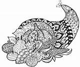 Thanksgiving Coloring Cornucopia Corne Abondance Mandala Stress Anti Coloriage Coloriages Adult Turkey Mandalas Ausmalbilder Therapy Tiere Thankful Lord Valentine Malbuecher sketch template