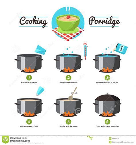 instructies voor het koken havermoutpap vector illustratie illustratie bestaande uit