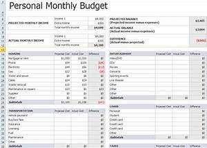 Personal monthly budget template documentation for Budget to actual template