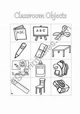Classroom Coloring Objects Object Cut Worksheet Pdf Esl sketch template