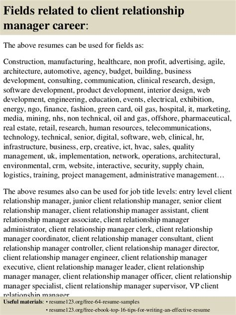Client Relationship Management Resume by Top 8 Client Relationship Manager Resume Sles
