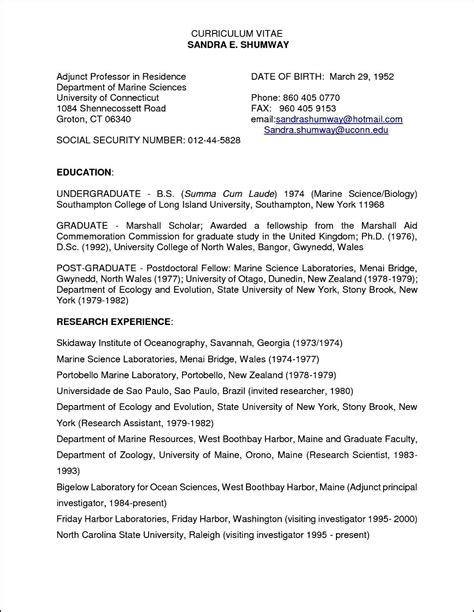Sle Adjunct Professor Resume by Sle Curriculum Vitae For Adjunct Professor Free