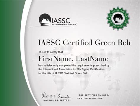 iassc lean  sigma green belt certification