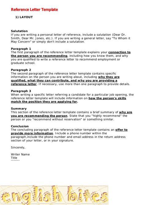Reference Letter Template Reference Letter Template