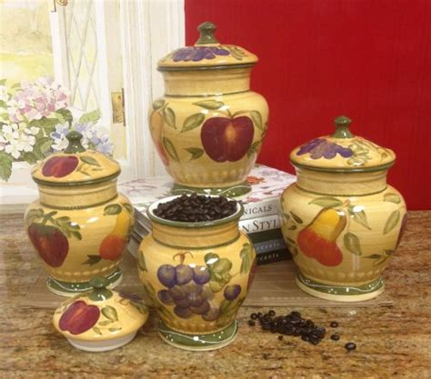 tuscan kitchen canisters sets european style tuscan fruit grape kitchen 4 pc canister