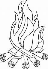 Coloring Fire Bonfire sketch template