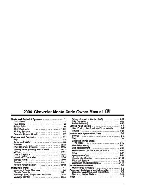 auto manual repair 2003 chevrolet monte carlo user handbook 2004 chevrolet monte carlo owners manual just give me the damn manual