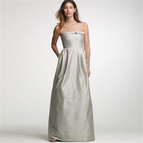 jcrew silk dupioni marlene gown  gray light pewter lyst