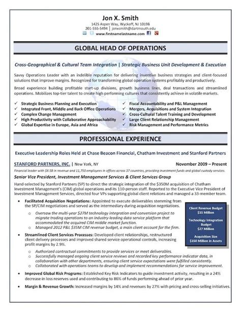 Operations Officer Resume by The Top 4 Executive Resume Exles Written By A Professional Recruiter The O Jays The Top