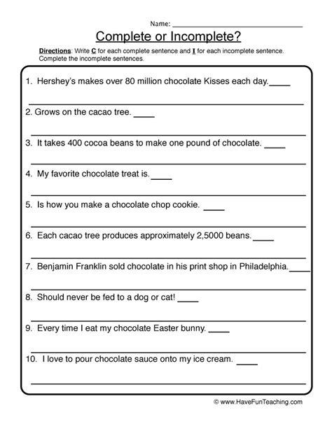 complete incomplete sentences worksheet 2