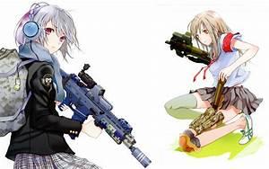 Headphones, Guns, School, Uniforms, Weapons, Girls, With, Guns, Fuyuno, Haruaki, Simple