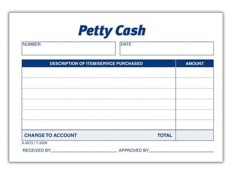 petty cash receipt pad  shpd