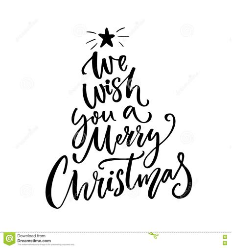 we wish you a merry christmas typography greeting card text stock vector illustration of