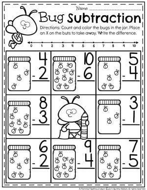 subtraction worksheets kindergarten subtraction