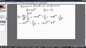Elasticity Formula Constant Elasticity Of Demand Youtube