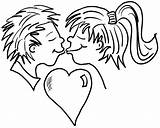 Coloring Boy Valentine Kissing Pages Heart Cartoon Hearts Roses Kiss Drawing Kisses Colouring Valentines Printable Rose Printables Clipart Coloringpagebook Advertisement sketch template