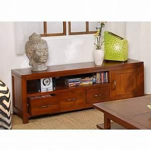 Meuble Bas Bois : meuble tv bas bois exotique ~ Teatrodelosmanantiales.com Idées de Décoration