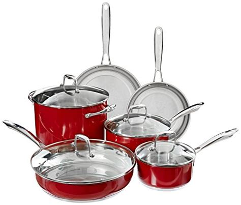 amazoncom kitchenaid kcsser stainless steel  piece cookware set empire red kitchen dining