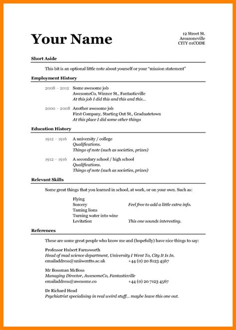 Basic Curriculum Vitae Template by Simple Cv Template Word Cv Template Basic Resume