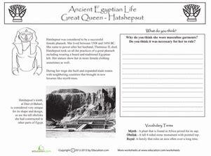 ancient egypt queen hatshepsut worksheet education