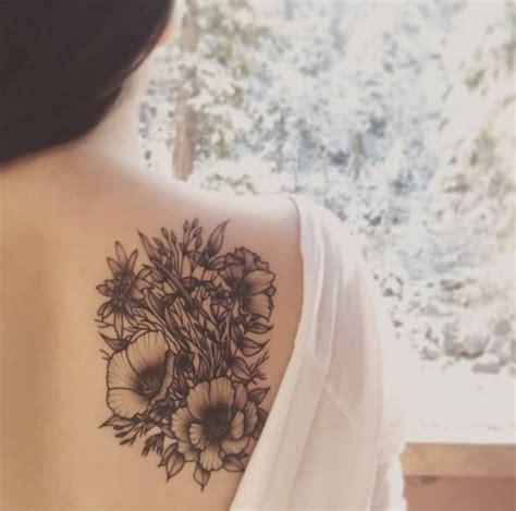 classic black  grey flowers tattoo  girl